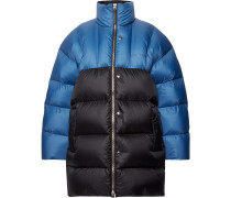 Oversized Two-tone Quilted Nylon Down Jacket - Blue