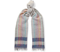 Embroidered Striped Wool Scarf - Gray