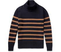 Striped Wool-blend Rollneck Sweater - Navy