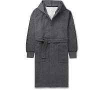 Fleece-back Cotton-jersey Hooded Robe - Gray