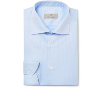 Light-blue Cutaway-collar Herringbone Cotton Shirt - Light blue