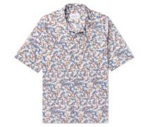 Camp-collar Printed Cotton Shirt - Blue
