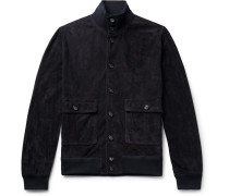 Valstarino Slim-fit Unlined Suede Bomber Jacket - Midnight blue