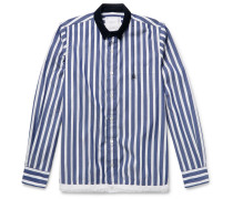 + Dr. Woo Embroidered Corduroy-trimmed Striped Cotton Shirt - Blue