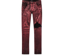 Skinny-fit Distressed Glittered Stretch-denim Jeans