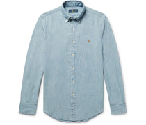 Slim-Fit Washed Cotton-Chambray Shirt
