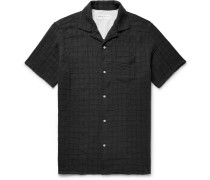 Dario Camp-collar Checked Textured Cotton-blend Shirt