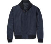 Herringbone Wool Bomber Jacket - Navy