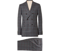 Grey Slim-fit Embroidered Prince Of Wales Checked Wool And Cotton-blend Suit - Gray