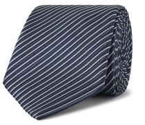 7cm Striped Silk Tie - Midnight blue