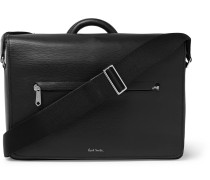 Contrast-tipped Textured-leather Messenger Bag - Black
