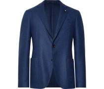 Blue Unstructured Wool Blazer - Blue