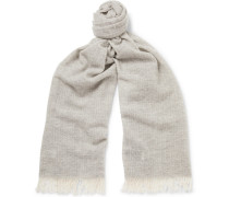 Jorn Fringed Cashmere Scarf - Light gray