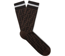 Logo-intarsia Stretch Cotton-blend Socks - Brown