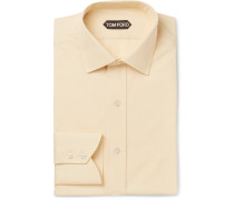 Light-yellow Slim-fit Cotton-poplin Shirt
