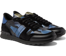 Valentino Garavani Rockrunner Camouflage-Print Canvas, Leather and Suede Sneakers