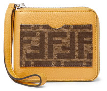 Logo-print Coated-canvas And Full-grain Leather Zip-around Wallet - Yellow