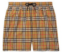 Long-length Wide-leg Checked Swim Shorts - Camel