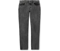 Slim-fit Faded-denim Jeans - Black