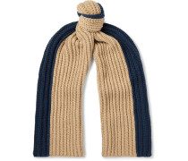 Colour-Block Ribbed Cashmere Scarf