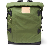 Basile Bancha Leather-Trimmed Waxed Cotton-Ripstop Backpack