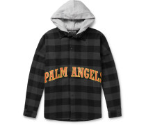Oversized Logo-Print Checked Cotton-Blend Flannel Hooded Overshirt
