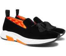 Tuner Tasselled Velvet Slip-on Sneakers - Black