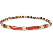 14-Karat Gold, Tiger's Eye and Diamond Bracelet