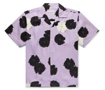 Canty Camp-Collar Printed Lyocell Shirt