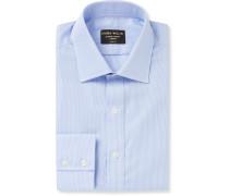 Light-Blue Slim-Fit Gingham Cotton-Poplin Shirt