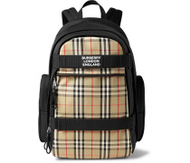 Logo-Appliquéd Leather-Trimmed Checked Canvas Backpack