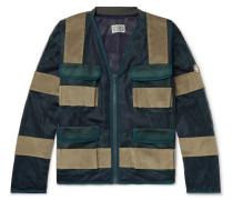 Velvet-Panelled Mesh Jacket