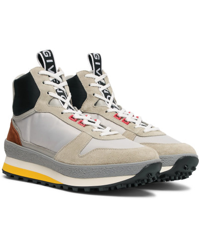 Tr3 Shell, Nubuck And Leather High-top Sneakers - Gray