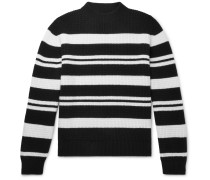 Striped Waffle-Knit Virgin Wool Sweater