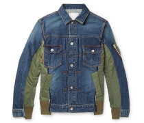 Nylon-Panelled Distressed Denim Jacket
