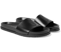 Embroidered Leather Slides - Black