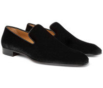 Grosgrain-Trimmed Velvet Loafers