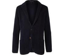 Navy Unstructured Wool and Cotton-Blend Chenille Blazer