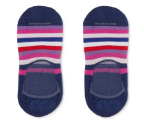 Invisible Touch Striped Stretch Pima Cotton-Blend No-Show Socks