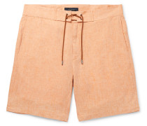 Sunset Suede-Trimmed Linen Shorts