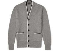 Stripe-Edged Cashmere Cardigan