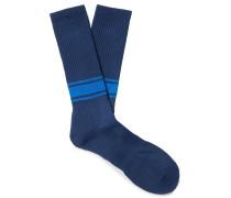 Ribbed Striped Stretch Cotton-Blend Socks