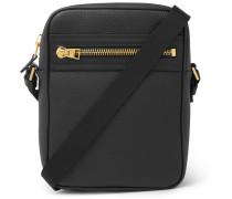 North South Full-grain Leather Messenger Bag - Black