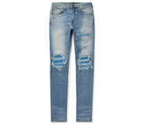 Mx1 Skinny-fit Panelled Distressed Stretch-denim Jeans