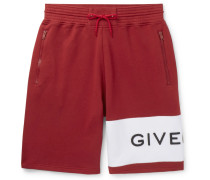 Logo-embroidered Loopback Cotton-jersey Drawstring Shorts - Red