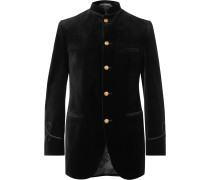 Black Slim-Fit Nehru-Collar Cotton-Velvet Jacket