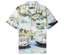 Camp-collar Printed Cotton Shirt - Light blue