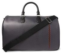 Leather-trimmed Printed Coated-canvas Holdall - Gray