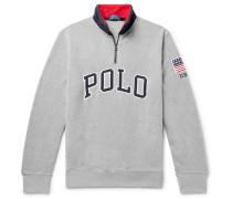 Logo-appliquéd Fleece Half-zip Sweatshirt - Gray