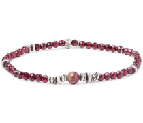 Tourmaline, Garnet And Sterling Silver Bracelet